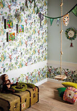 Arthouse Jungle Mania Multi Kids Boys Feature Wall Bedroom Wallpaper 10m 696008