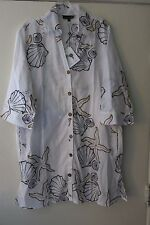 Club Z XL Women's White Beach Swimsuit Coverup 3/4 Sleeve Tunic Shirt Starfish