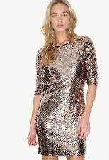 Forever Unique Sequin Zig Zag Party Dress UK 8.US 4. EU 36 NWT!! RRP£240.00