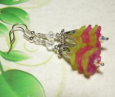 Lucite Flower Earrings Multi-Color Pink Green Silver Plated Ear Wires Handmade