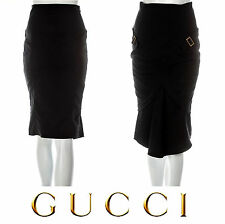 GUCCI ~  Black Tulip High Waist skirt with Gold buckles ~ size: S * AUTHENTIC