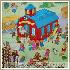 BonEful Fabric FQ Cotton Quilt Berenstain Bear School Bus Book Family Tree House