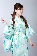 Japanese Kimono Vintage Yukata Floral Haori Costume Dress with Obi Gown Robe