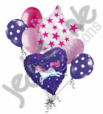 7 pc Flying Unicorn Happy Birthday Balloon Bouquet Magical Horse Girl Night Sky