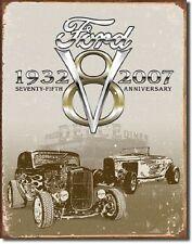 1932 Ford Deuce V8 75th Anniversary Vintage TIN SIGN Garage Wall Poster Decor