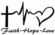 FAITH HOPE LOVE Vinyl Decal Sticker Car Window Wall Bumper Symbol Heart Cross 8""