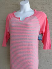 NWT Just  My Size X-Temp Fabric 3/4 Raglan Sleeve Notch Neck Striped Tee Top 2X