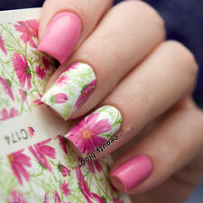 Nail Art Water Decals Wraps Pink Petals Floral Flowers UV Tips Decoration (C174)