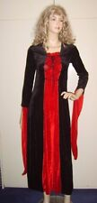 Ladies Red & Black Velour Dress Medieval Gothic Vampire Fancy Dress Costume M