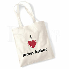 'I love (Heart) James Arthur' Cotton Canvas Reusable Shopping Tote Bag