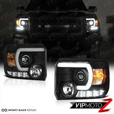 2014 2015 GMC Sierra 1500 2500HD 3500HD Black OLED DRL Neon Tube Headlights Lamp