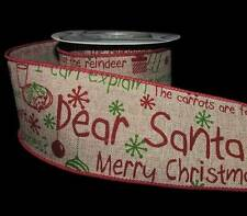 5 Yards Dear Santa Letter Merry Christmas Kids Child Baby Burlap Wired Ribbon 2