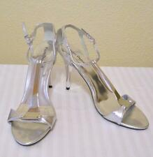 Pierre Dumas Metallic Silver Mirror Patent Leather Stiletto Heels Sandal Shoes 9