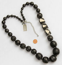 Chico's Signed Stunning Long Necklace Chunky Carved Black Ivory Color Beads NWT