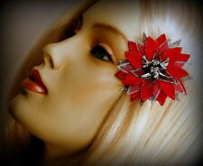 "MINI RED SPARKLE ""PIRATE POINSETTIA"" CLIP, CHRISTMAS HAIR FLOWER"