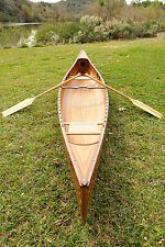 "Real Cedar Strip Canoe Assembled 16"" Built Wooden Model Boat Paddles & Cover New"