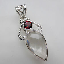 Clear Quartz (Lab) Garnet Solid 925 Sterling Silver Pendant Jewellery