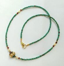 Afghan Natural Turquoise with Gold Plated, Garnet & Pearls Necklace Tiny Beads