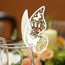 50pcs Butterfly Wedding Name Place Card Wine Glass Laser Cut On Pearlescent Card