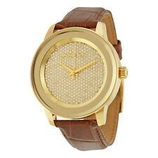 BRAND NEW MICHAEL KORS MK2455 KINLEY GOLD PAVE & EMBOSSED LEATHER WOMEN'S WATCH