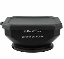 JJC 37mm Screw-in DV Camcorder Square Lens Hood with Cap and Strap Black