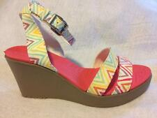 Crocs Leigh Graphic Wedge--Ankle Strap--Multi-Color Fabric--NEW--Size W7