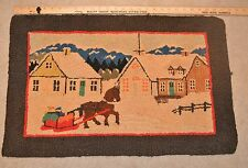 Antique Handmade Folk Art Hooked-Rug Winter Scene w/ Horse Sleigh Ride to Church
