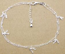 925 Sterling Silver Plated Nugget Bead Anklet KPAN13 27cm Total  Extension Chain