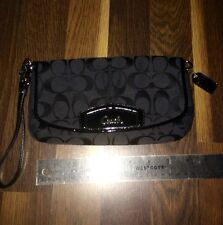 Authentic Black Coach SIgnature LARGE Flap WrisLet 47013