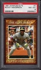 1991 Rickey Henderson Donruss Elite Series Baseball Card #7 Graded PSA 8 NM-MT