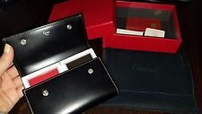CARTIER PLAYING CARDS SEALED BLACK LEATHER CASE C MOTIF NEW IN BOX W/DUST COVER