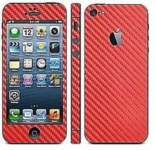 Red Carbon Fibre Full Body Decal Skin Protector Sticker For Apple iPhone 5 5S