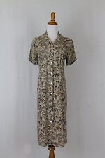 Vintage GAP 1990's 1940's Style Beige and Plum Floral Rayon Midi Length Dress XS