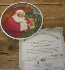 Norman Rockwell Santa Golden Gift Claus Collector Plate 1987 Knowles Christmas