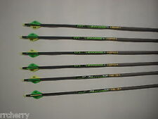 6 Gold Tip XT Hunter 7595 340 Carbon Arrows w/ Bohning Blazer Vanes! WILL CUT!