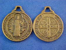 Two Antiqued Bronze St BENEDICT Medal Protection Exorcism's Saint Medal 5/8""