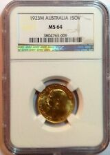 1923 M Australian Sovereign Gold George V Rare NGC MS 64