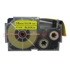 Compatible Casio XR-18YW Black on Yellow 18mm 8m Label Tape CW-L300  3/4 x 26""