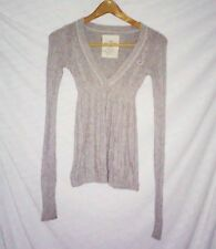 EUC, women's, Sz. XS, HOLLISTER, gray, long sleeve, v-neck, cable knit, sweater