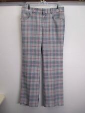 vtg 1970's Levi's Panatela Golf Punk Skate red,blue plaid flat front pant 33/31