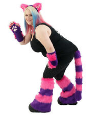 PAWSTAR Cheshire Cat Costume Furry Ears Tail Paws Leg Hot Pink Purple [CLA]4012