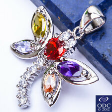 "PERFECT GIFT! Multi Gemstone Dragonfly .925 Sterling Silver PENDANT 1"" FREE SHIP"