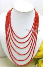 """SALE 6 Strands 4 MM Red Coral 18-25"""" long NECKLACE & Big Red beauty CLASP-ne5211"""