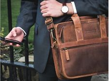 MENS CITYLANDER UNIQUE VINTAGE STYLE BROWN LEATHER LAPTOP BRIEFCASE