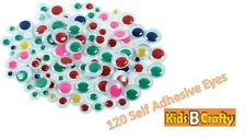 120 Googly Wiggly Wobbly Eyes SELF ADHESIVE Crafts NEW Mixed Sizes Coloured