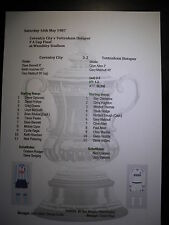 1987 FA Cup Final Coventry City v Tottenham Hotspur Matchsheet