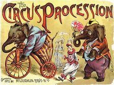 CIRCUS ART PROCESSION ELEPHANT CLOWN VINTAGE USA POSTER ART PRINT BB1632A