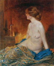 Large nice art Oil painting sexy young woman on bed in winter night canvas