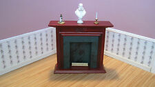 Dollhouse Miniature Furniture ~ Fireplace With a Green Marble Insert ~ Mahogany