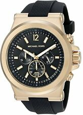 Michael Kors MK8445 Gold Bezel Black Silicone Men's Watch-Gift bag included!